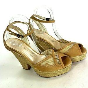 Nanette Lepore Wedge Block Woven Heel Womens 11